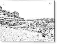 Inca Ruins On Cojitambo In Ecuador Acrylic Print by Al Bourassa