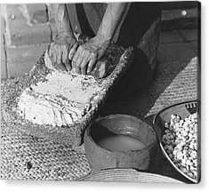 Indains Making Corn Flour Acrylic Print by Underwood Archives Onia