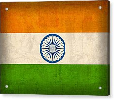 India Flag Vintage Distressed Finish Acrylic Print by Design Turnpike