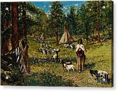 Indian Pastoral Acrylic Print by Celestial Images
