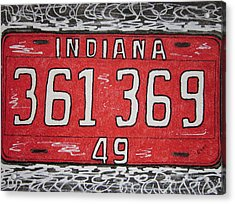 Indiana 1949 License Platee Acrylic Print by Kathy Marrs Chandler