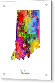 Indiana Map Acrylic Print by Michael Tompsett