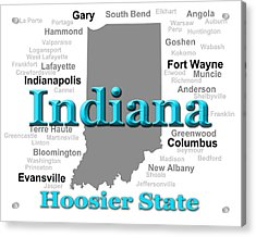 Indiana State Pride Map Silhouette  Acrylic Print by Keith Webber Jr