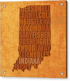 Indiana State Word Art On Canvas Acrylic Print by Design Turnpike