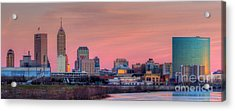 Indianapolis At Sunset Acrylic Print by Twenty Two North Photography