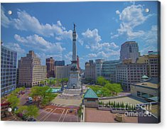 Indianapolis Monument Circle Oil Acrylic Print by David Haskett
