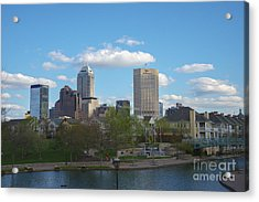 Indianapolis Skyline Blue 2 Acrylic Print by David Haskett