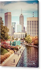 Indianapolis Skyline Old Retro Picture Acrylic Print by Paul Velgos