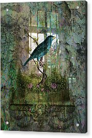 Indoor Garden With Bird Acrylic Print by Sarah Vernon