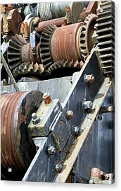 Industrial Cogs And Pulley Wheels Acrylic Print by Science Photo Library