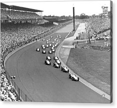 Indy 500 Race Start Acrylic Print by Underwood Archives