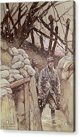 Infantrymen In A Trench, Notre-dame De Lorette, 1915 Wc On Paper Acrylic Print by Francois Flameng