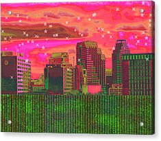 Inner City - Night Falls Acrylic Print by Wendy J St Christopher