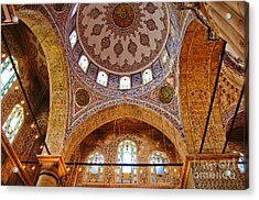 Inside The Blue Mosque Acrylic Print by MaryJane Armstrong