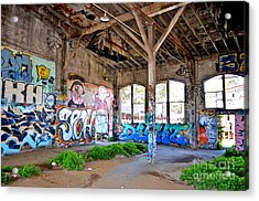 Inside The Old Train Roundhouse At Bayshore Near San Francisco And The Cow Palace II Acrylic Print by Jim Fitzpatrick
