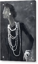 Inspired By Chanel Fashion Illustration Art Print Acrylic Print by Beverly Brown Prints