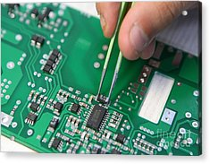 Installing Component On Circuit Board Acrylic Print by Ria Novosti