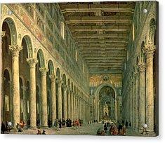 Interior Of The Church Of San Paolo Fuori Le Mura Acrylic Print by Giovanni Paolo Panini