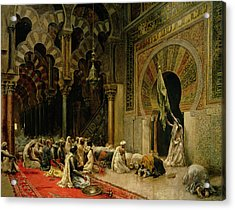 Interior Of The Mosque At Cordoba Acrylic Print by Edwin Lord Weeks