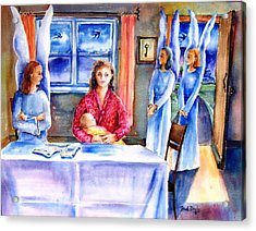 Interview For A Guardian Angel  Acrylic Print by Trudi Doyle
