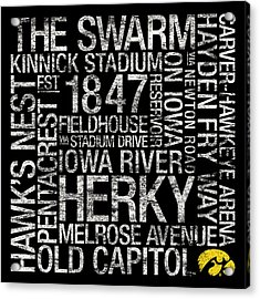 Iowa College Colors Subway Art Acrylic Print by Replay Photos