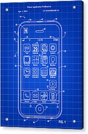 iPhone Patent - Blue Acrylic Print by Stephen Younts