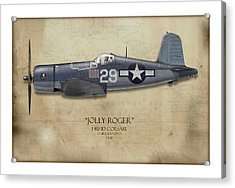 Ira Kepford F4u Corsair - Map Background Acrylic Print by Craig Tinder
