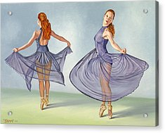 Irina Dancing In Sheer Skirt Acrylic Print by Paul Krapf