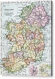 Irish Free State And Northern Ireland From Bacon S Excelsior Atlas Of The World Acrylic Print by English School