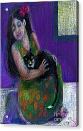 Island Girl And Cat Acrylic Print by Cecily Mitchell