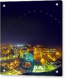 Iss Trail Over The Dali Museum Acrylic Print by Juan Carlos Casado (starryearth.com)