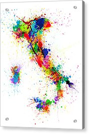 Italy Map Paint Splashes Acrylic Print by Michael Tompsett