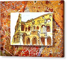 Italy Sketches Rome Colosseum Ruins Acrylic Print by Irina Sztukowski