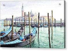Italy Venice Gondolas Parked Acrylic Print by Yuriy Shevchuk