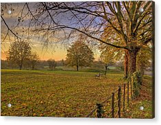 Ivinghoe Autumn Village Sunset Acrylic Print by David Dwight