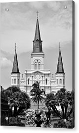Jackson Square In Black And White Acrylic Print by Bill Cannon