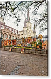 Jackson Square Winter Impasto Acrylic Print by Steve Harrington