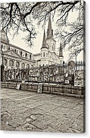 Jackson Square Winter Sepia Acrylic Print by Steve Harrington