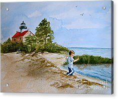 Jacob At East Point  Acrylic Print by Nancy Patterson