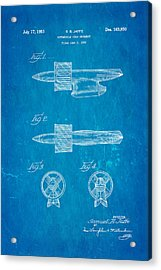 Jaffe Hood Ornament Patent Art 1951 Blueprint Acrylic Print by Ian Monk