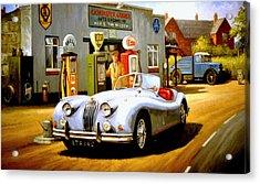 Jaguar Xk 140 Acrylic Print by Mike  Jeffries