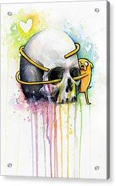 Jake The Dog Hugging Skull Adventure Time Art Acrylic Print by Olga Shvartsur