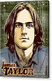 James Taylor Pop Art Acrylic Print by Jim Zahniser