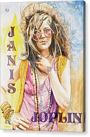 Janis Joplin Painted Poster Acrylic Print by Kathryn Donatelli