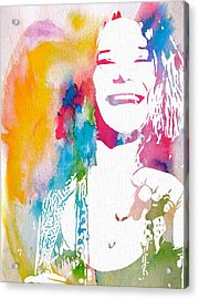 Janis Joplin Watercolor Acrylic Print by Dan Sproul