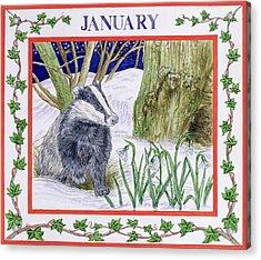 January Wc On Paper Acrylic Print by Catherine Bradbury