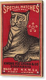 Japanese Matchbox Label With Tiger Acrylic Print by Nop Briex