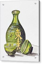 Japanese Rice Wine - Sake Acrylic Print by Irina Gromovaja