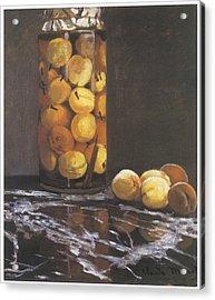 Jar Of Peaches Acrylic Print by Claude Monet
