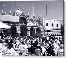 Jazz In Piazza San Marco Black And White  Acrylic Print by Ramona Matei